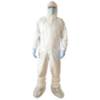 Combinezon de protectie chimica Vicmod, cu gluga, polipropilena laminata cu pelicula TPPTG, marime L