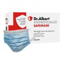 Masca chirurgicala Dr. Albert, de unica folosinta, polipropilena, 3 straturi, albastra, 50 bucati
