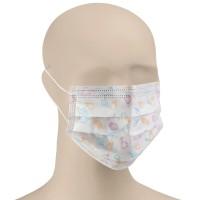 Masca chirurgicala pentru copii Dr. Albert, de unica folosinta, polipropilena, 3 straturi, alb cu print, 30 bucati