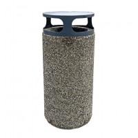 Cos gunoi, din beton, forma cilindrica, cu capac metalic