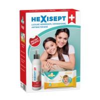Lotiune reparatoare hidratanta antibacteriana Hexisept, 250 ml + servetele umede Alinan, 56 buc