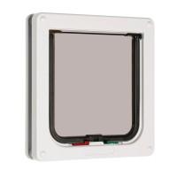 Usa de acces, pentru pisici, PVC, alb, marime M, 20 x 19.2 x 5.5 cm