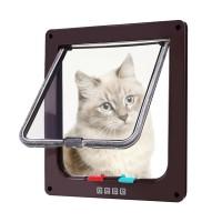 Usa de acces, pentru pisici, PVC, maro, marime XL, 28.5 x 24.5 x 5.5 cm