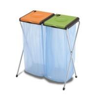 Cos gunoi colectare selectiva Nature 2, inox + plastic, verde + portocaliu
