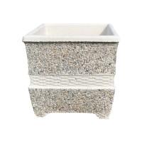 Ghiveci din ciment + piatra margaritar VG200, cu impletituri, alb + gri, patrat, pentru exterior, 44 x 44 x 44 cm