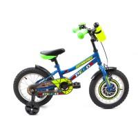 Bicicleta pentru copii DHS 1401, 14 inch, frane V-Brake, cu roti ajutatoare, 3-5 ani, albastru