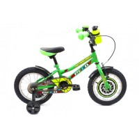 Bicicleta pentru copii DHS 1401, 14 inch, frane V-Brake, cu roti ajutatoare, 3-5 ani, verde