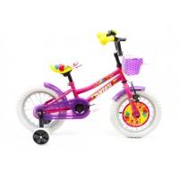 Bicicleta pentru copii DHS 1402, 14 inch, frane V-Brake, cu roti ajutatoare, 3-5 ani, roz