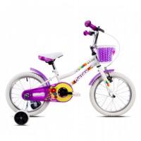 Bicicleta pentru copii DHS 1602, 16 inch, frane V-Brake, cu roti ajutatoare, 4-6 ani, alb/ violet