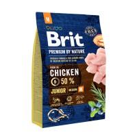 Hrana uscata pentru caini, Brit Premium by Nature, junior M, carne de pui, 3kg
