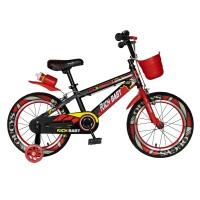 Bicicleta pentru copii Rich Baby R14WTB, 14 inch, frane C-Brake, cu roti ajutatoare cu LED, 3-5 ani, negru/ rosu