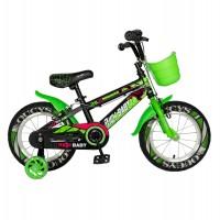 Bicicleta pentru copii Rich Baby R14WTB, 14 inch, frane C-Brake, cu roti ajutatoare cu LED, 3-5 ani, negru/ verde