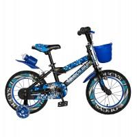 Bicicleta pentru copii Rich Baby R16WTA, 16 inch, frane C-Brake, cu roti ajutatoare cu LED, 4-6 ani, negru/ albastru