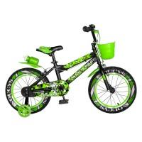 Bicicleta pentru copii Rich Baby R16WTA, 16 inch, frane C-Brake, cu roti ajutatoare cu LED, 4-6 ani, negru/ verde