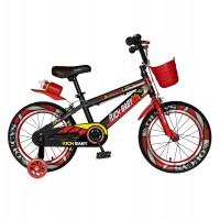 Bicicleta pentru copii Rich Baby R16WTB, 16 inch, frane C-Brake, cu roti ajutatoare cu LED, 4-6 ani, negru/ rosu