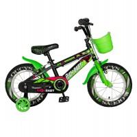 Bicicleta pentru copii Rich Baby R16WTB, 16 inch, frane C-Brake, cu roti ajutatoare cu LED, 4-6 ani, negru/ verde