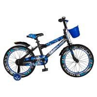 Bicicleta pentru copii Rich Baby R18WTA, 18 inch, frane C-Brake, cu roti ajutatoare cu LED, 5-7 ani, negru/ albastru
