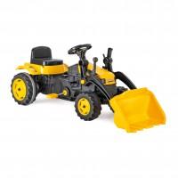 Jucarie pentru copii, excavator cu pedale, plastic, negru cu galben
