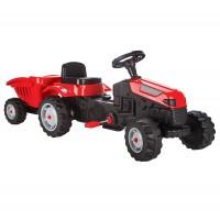 Jucarie pentru copii, tractor cu pedale + remorca, plastic, negru cu rosu