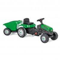 Jucarie pentru copii, tractor cu pedale + remorca, plastic, negru cu verde
