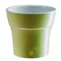 Ghiveci din plastic, Dali, cu auto-udare, verde olive, D 19 cm