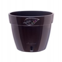 Ghiveci din plastic, Asti, cu auto-udare, negru, D 34 cm