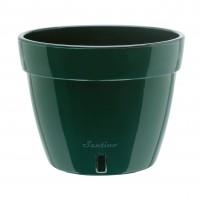 Ghiveci din plastic, Asti, cu auto-udare, verde, D 34 cm
