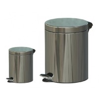 Cosuri gunoi Studio Casa din inox, forma cilindrica, cromat, cu pedala si capac batant, set 2 bucati, 5 + 12 L