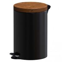 Cos gunoi cu pedala Studio Casa, metal, negru, capac finisaj lemn, 5 L