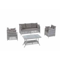 Set masa dreptunghiulara, cu 2 scaune + canapea cu perne, pentru gradina Perses