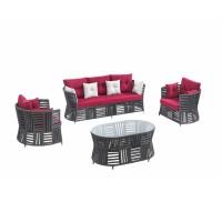 Set masa ovala, cu 2 scaune + canapea cu perne, pentru gradina Pallas