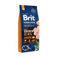 Hrana uscata pentru caini, Brit Premium by Nature Senior S+M, senior, carne de pui, 15kg