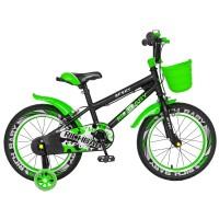 Bicicleta pentru copii Rich Baby R1203A, 12 inch, frane C-Brake, cu roti ajutatoare cu LED, 2-4 ani, negru/ verde