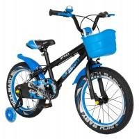 Bicicleta pentru copii Rich Baby R1203A, 12 inch, frane C-Brake, cu roti ajutatoare cu LED, 2-4 ani, negru/ albastru