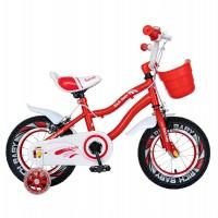 Bicicleta pentru copii Rich Baby R1204A, 12 inch, frane C-Brake, cu roti ajutatoare cu LED, 2-4 ani, rosu/ alb