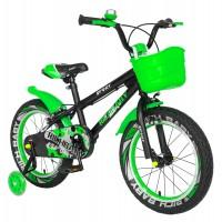 Bicicleta pentru copii Rich Baby R1603A, 16 inch, frane C-Brake, cu roti ajutatoare cu LED, 4-6 ani, negru/ verde