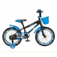 Bicicleta pentru copii Rich Baby R1603A, 16 inch, frane C-Brake, cu roti ajutatoare cu LED, 4-6 ani, negru/ albastru