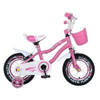 Bicicleta pentru copii Rich Baby R1604A, 16 inch, frane C-Brake, cu roti ajutatoare cu LED, 4-6 ani, roz/ alb