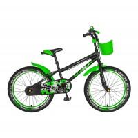 Bicicleta pentru copii Rich Baby R2003A, 20 inch, frane C-Brake, 7-10 ani, negru/ verde