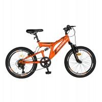 Bicicleta pentru copii MTB-FS Rich R2049A, 20 inch, Saiguan Revoshift 6 viteze, cu frane V-Brake, portocaliu