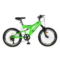 Bicicleta pentru copii MTB-FS Rich R2049A, 20 inch, Saiguan Revoshift 6 viteze, cu frane V-Brake, verde