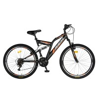 Bicicleta MTB-FS Rich R2449A, 24 inch, Saiguan Revoshift 18 viteze, cu frane V-brake, negru/ portocaliu
