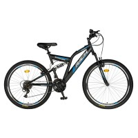 Bicicleta MTB-FS Rich R2449A, 24 inch, Saiguan Revoshift 18 viteze, cu frane V-brake, negru/ albastru