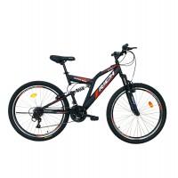 Bicicleta MTB-FS Rich R2449A, 24 inch, Saiguan Revoshift 18 viteze, cu frane V-brake, negru/ rosu