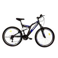Bicicleta MTB-FS Rich R2649A, 26 inch, Saiguan Revoshift 18 viteze, cu frane V-brake, negru/ albastru