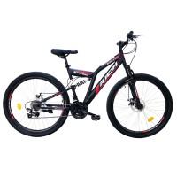 Bicicleta MTB-FS Rich R2750D, 27.5 inch, Saiguan Revoshift 18 viteze, cu frane pe disc, negru/ rosu