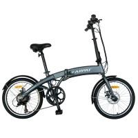 Bicicleta electrica E-bike Carpat C1005E, pliabila, motor 250W, 20 inch, Shimano 6 viteze, cadru aluminiu, cu frane mecanice pe disc, gri