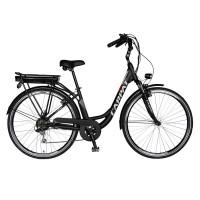 Bicicleta electrica City E-bike Carpat C1010E, motor 250W, 28 inch, Shimano 7 viteze, cadru aluminiu, cu frane mecanice V-brake, autonomie 60 km, negru