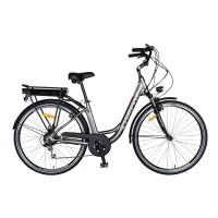Bicicleta electrica City E-bike Carpat C1010E, motor 250W, 28 inch, Shimano 7 viteze, cadru aluminiu, cu frane mecanice V-brake, autonomie 60 km, gri