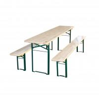 Set berarie, masa dreptunghiulara, cu 2 banci, din metal cu lemn, 220 x 70 x 74 cm